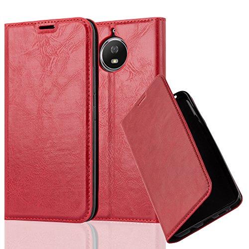 Cadorabo Hülle für Motorola Moto G5S - Hülle in Apfel ROT - Handyhülle mit Magnetverschluss, Standfunktion & Kartenfach - Case Cover Schutzhülle Etui Tasche Book Klapp Style