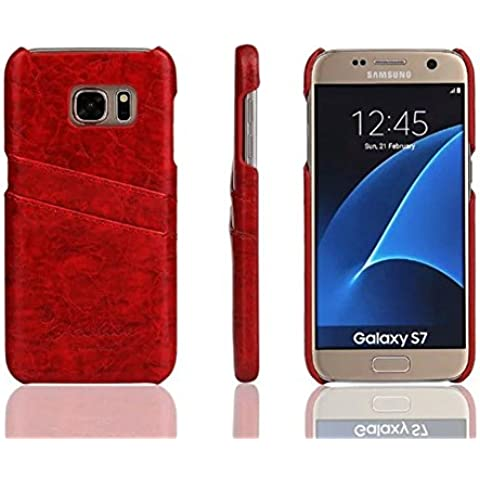 Distinct® Coperchio di lusso PU carta di cuoio fessura posteriore dura di caso per Samsung Galaxy S7 Edge (Rosso) - Goffratura Cera