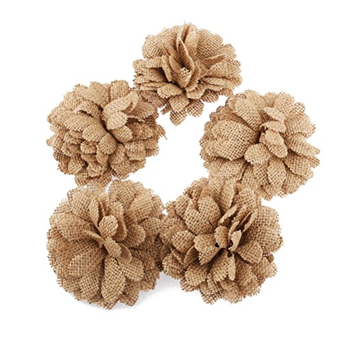 LUOEM 5Pcs Sackleinen Blumen Gänseblümchen Blumen für Handwerk rustikale Hochzeit Party Deko (Sackleinen Kranz Weihnachten)
