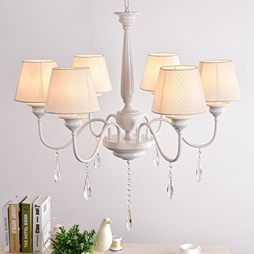 DE LED Kronleuchter Seeksung Metalltuch Kristall Licht Weiß Einfache Schlafzimmer Wohnzimmer Beleuchtung Moderne Kreative Restaurant Beleuchtung 5W [Energieklasse A ++]