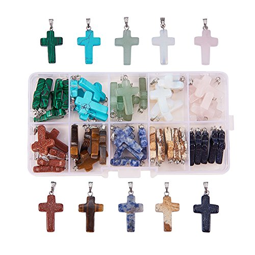 PandaHall Elite 50 PCS 10-Color Steinkreuz Edelstein Anhänger für Halskette Schmuckherstellung