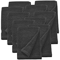 neu.haus] 10er Handtuch - Set 30x50cm Duschtuch Handtücher 100% Baumwolle Öko-Tex Standard 100 Trocknergeeignet Schwarz