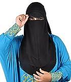 Niqab dreilagig - Hijab Gesichtsschleier Burka Khimar Islamische Gebetskleidung ,schwarz -