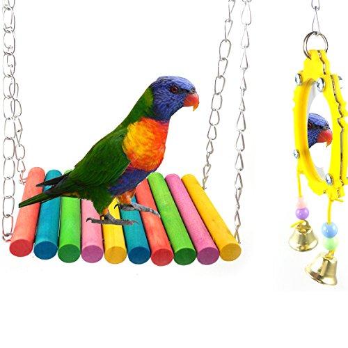 ASOCEA Fancy & Uccello Pappagallo Swing Giocattolo Appendere Uccello Specchio con Campana