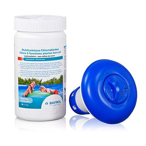 Multifunktions-Chlortabletten 20 g kupfersulfatfrei 1,0 kg Dose von BAYROL + Chlordosierschwimmer | Wasserpflege für Quick-Up-Pools | 5 Funktionen langsam löslich