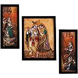 Indianara 3 Pc Set Of Radha Krishna Paintings Without Glass 5.2 X 12.5, 9.5 X 12.5, 5.2 X 12.5 Inch