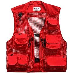LIE SE ZHE Chaleco al Aire Libre de Pesca para Hombre Viaje Turismo Outdoor Secado Rápido de Safari Fotografía Transpirable Suave Ligera - Rojo