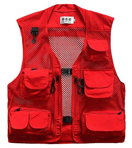LIESEZHE Herren Mesh Multifunktionsweste Summer Outdoor Sport Weste mit vielen Taschen für Angeln Jagd Camping Safari Größe L - Rot
