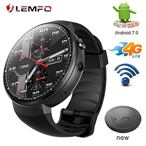 LEMFO LEM7 4G LET Smart Watch Android 7.1 Smartwatch SIM Kamera Übersetzung Tool Fitness Tracker Smartwatch Telefon Herren Damen (Schwarz/Deutschland)
