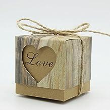 50x Scatola Cubo In carta Cartoncino Tema naturale giardino con forma cuore love con Corda in canapa