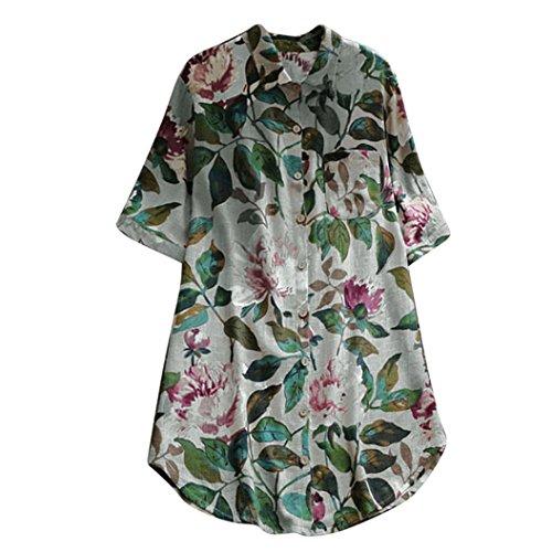 SEWORLD 2018 Damen Mode Sommer Herbst Elegant Knopfdruck T-Shirt Ärmel Beiläufige Spitzen T-Shirt Langarm Tops Bluse (Y-a-Grau,EU-42/CN-L)