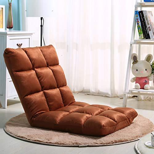 DZLXY Verstellbarer Klappboden Stuhl Lazy Couch Tatami Einzelsofa, Boden Gaming Sofa Stuhl, Soft Cushion Couch Recliner Faltbarer Tatami,Braun,110 * 52 * 12cm