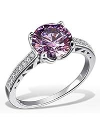 Goldmaid Damen-Ring Purple Fancy 925 Sterlingsilber gesetzt mit 16 weißen und einem lilanen Swarovski