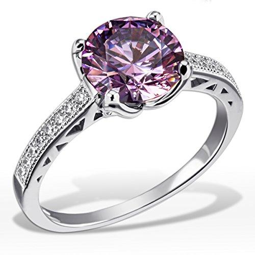 Goldmaid Damen-Ring Purple Fancy 925 Sterlinsilber gesetzt mit 16 weißen und einem lilanen Swarovski Zirconia