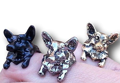 Image of Pembroke Corgi Dog Adjustable Ring by Pashal Puppies (Silver)