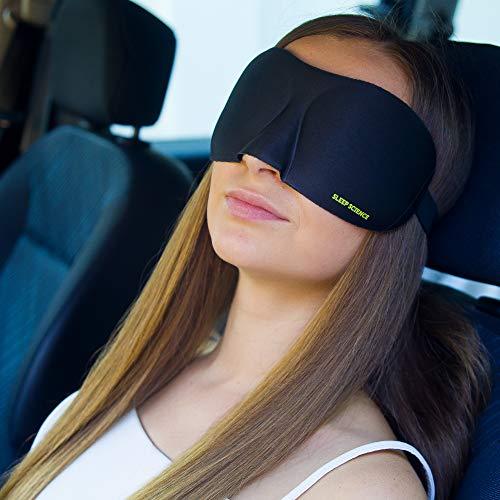 3D Schlafmaske Beste Augenmaske zum Schlafen. 3D konturierte, organische & Naturseide Eyemask mit hochwertigen Ohrstöpseln und transparenter Reisetasche.