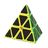 Twister.CK Pyraminx Pyramid Speed Cube with Carbon Fiber Sticker, 4-Side 3x3 Twisty Cube Brain Teasers for Cube Enthusiasts, Children Gift for Intelligence Development