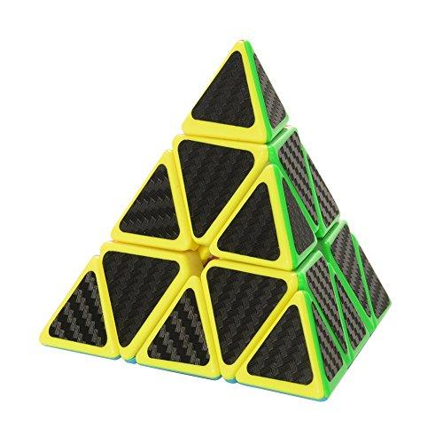 Preisvergleich Produktbild Twister.CK Pyraminx Pyramid Speed Cube mit Carbon-Faser-Aufkleber, 4-Side 3x3 Twisty Würfel Gehirn Teasers für Cube-Enthusiasten, Kinder Geschenk für Intelligence Development