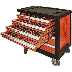 Fischer Darex 810404 Servante d'atelier 6 tiroir & 129 Outils, Noir