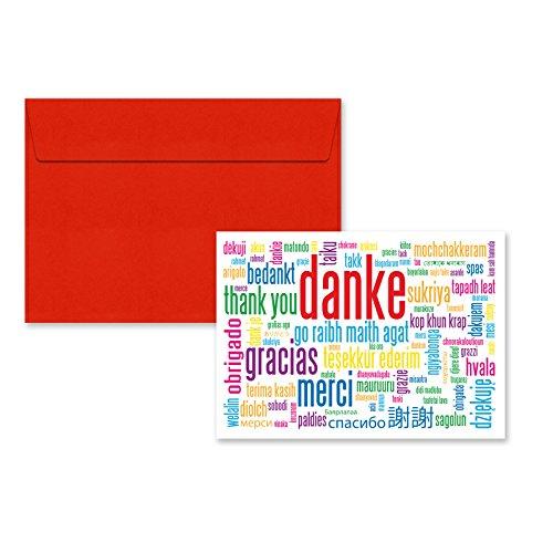 5er Pack Klappkarten mit Umschlag Geschenkkarte Danke Grußkarte Glückwünschkarte Klappkarte Karte mit Umschlag DIN C6 (Danke Grußkarten)