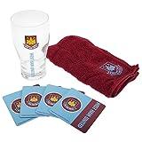 West Ham FC Official Wordmark Mini Football Bar Set (Pint Glass, Towel & Beer Mats)