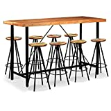 Festnight- Barmöbel Bar Set 9-TLG. Massives Sheesham-Holz und Altholz