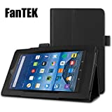 """FanTEK Fire 7 2015 Case - PU Leather Multi-Angle Stand Magnetic Cover for Amazon New Fire 5th Generation 7"""" Display Tablet (Black)"""