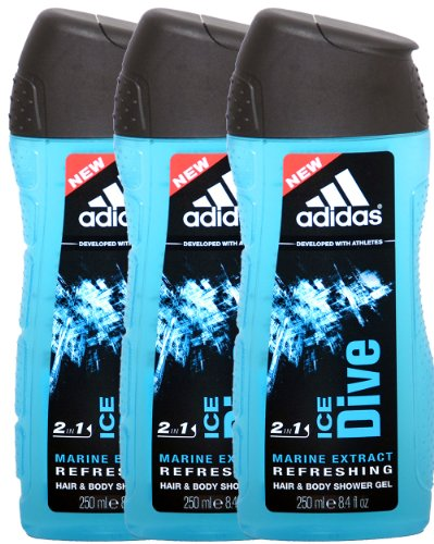 3x Adidas 2in1 Hair & Body Shower Gel Dusch Gel Duschgel Ice Dive 750ml (3x 250ml)