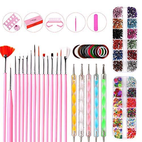 FOONEE Juego De Arte En Uñas para Niñas, Kit De Manicura Nail Art Tools con 15 Pinceles para Uñas...