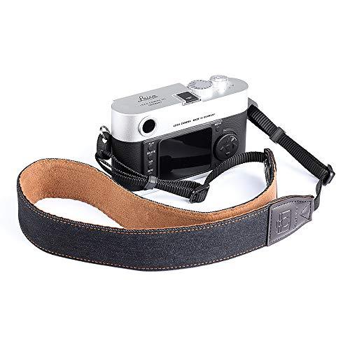 Cafele Kamera Tragegurt Schulter Strap Leder Weich Schultergurt für Canon Nikon Sony Fujifilm Olympus DSLR SLR,Schwarz