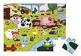 Janod J02772 - Puzzle Tattile gli Animali della Fattoria, 20 Pezzi
