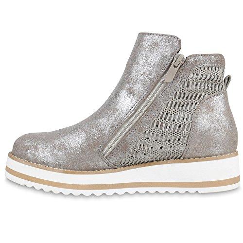 Damen Chelsea Boots Lack Glitzer Profilsohle Stiefeletten Schuhe Khaki Strick