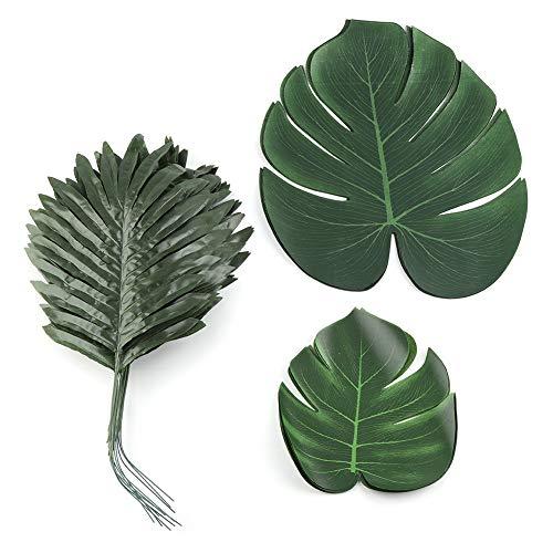 waiian Palm Blätter für Sommer BBQ Strand Thema Luau Party Tischläufer Dschungel Dekorationen 36Pcs ()