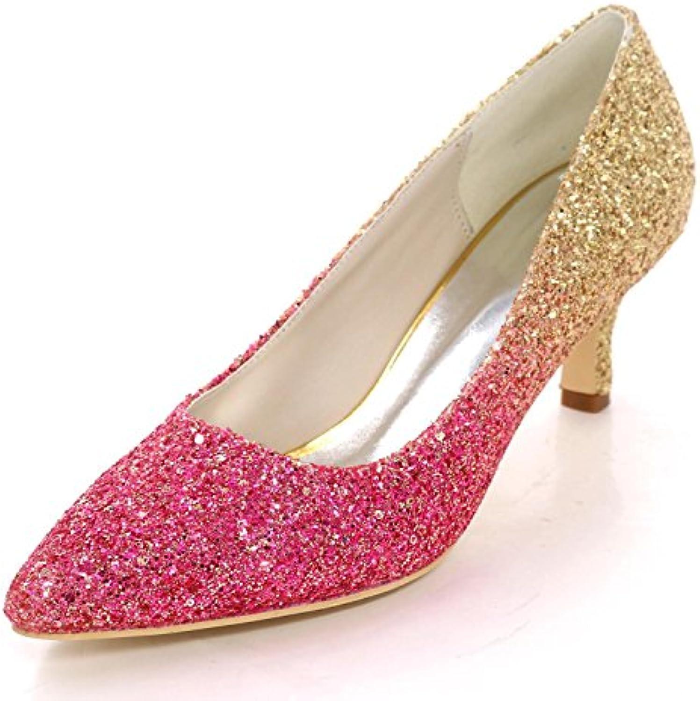 L@YC Zapatos de Boda de Las Mujeres EN Punta de Lentejuelas de Tacón ...