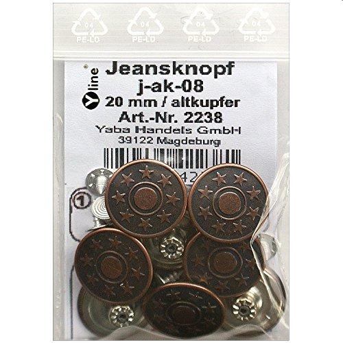 8 Jeans Knöpfe altkupfer 20 mm, Jeansknöpfe Metallknopf, Metall Knöpfe, nähfrei, im Polybeutel, sl, 2238