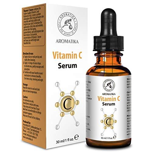 Serum Vitamin C für Gesicht und Körper - 30ml Glasflasche - C-Vitamin Serum mit reines Vitamin C - Vitamin E und Hyaluronsäure für Gesichtspflege - für Alle Hauttypen