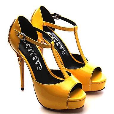 Heart&M Da donna Tacchi Vernice Estate Autunno Footing Borchie A stiletto Nero Giallo Verde 7,5 - 9,5 cm yellow