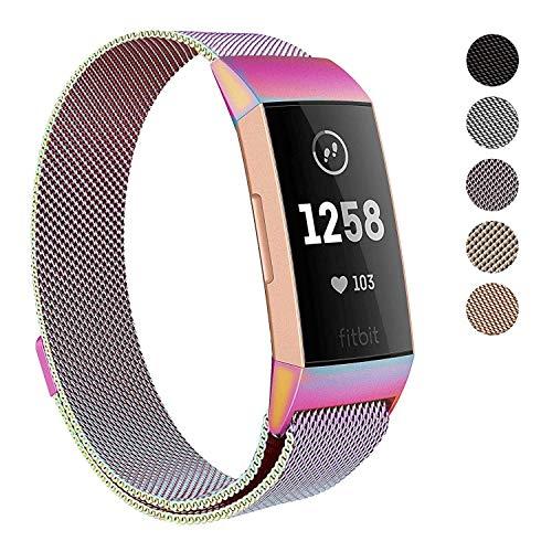 Reety Armband kompatibel mit Fitbit Charge 3, Milanaise, 100% 316L Edelstahl, verstellbares Ersatz-Zubehör, Fitness-Armband mit einzigartigem Magnetverschluss, für Damen und Herren