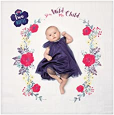 lulujo Baby First Year Milestone Blanket and Cards Set, Stay Wild My Child