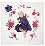 Lulujo Baby-Decke Swaddle mit 14 Monats-Karten Baby-Karten zum Fotografieren und festhalten der ersten Entwicklungsschritte Ihres Babys im ersten Lebensjahr (Wilde Blume)