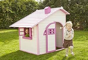 Sun Spielhaus Kinderspielhaus für Draußen Pink Gartenhaus