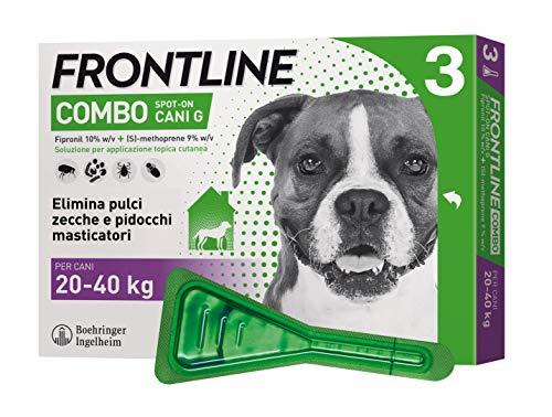 Frontline   combo spot on cani   protezione da pulci, zecche, uova e larve di pulci   3 pipette   cane l (20 - 40 kg)