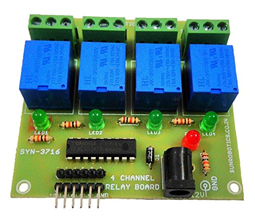 SunRobotics 4-Channel 12V Relay Board Module  available at amazon for Rs.249