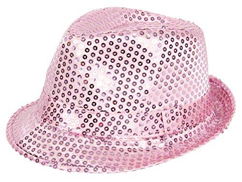 rilby Hut Blink Fedora Bogart Glitzerhut Glitter, Farbe wählen:TH-63 rosa (Glitzer Fedora Hüte)
