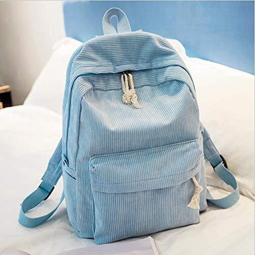 OneMoreT Rucksack für Damen, Preppy Stil, weicher Stoff, Kord, Design für Teenager, Mädchen, gestreift hellblau