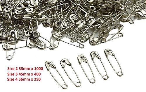 Sicherheit PIN Stahl nickel finish Nähen Quilting Art Pack Gr. 23435mm 45mm 56m Size 2 35mm x 1000 -