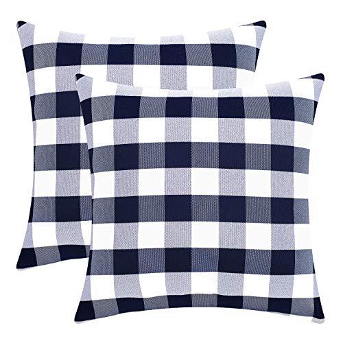 Sunfay Blau Kissenbezug Set 45 x 45 cm 2er Dekorative Sofakissen mit Reißverschluss Kariert Geometrie Kissenhülle für Sofa Bett Schlafzimmer (Dekorative Kissenbezug Blau)