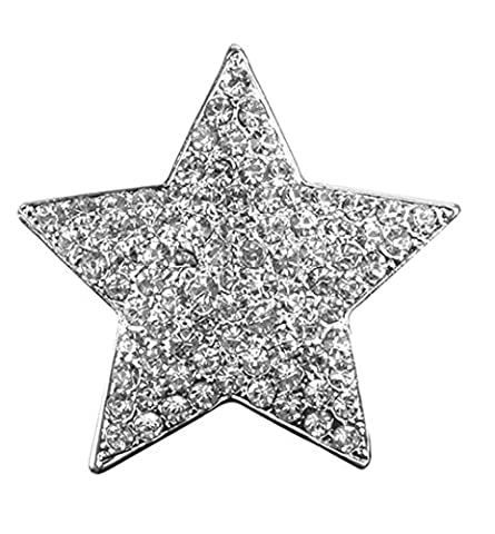 Akki Magnet Brosche Schmuck Anhänger Stern Design mit Strass für Kleidung, Schals, Tücher und Ponchos Damen Magnetschmuck Baum des Lebens Ponchos Blume Magnet-Pin Kleider Farben Silber Poncho Wert (Arabischen Tracht)
