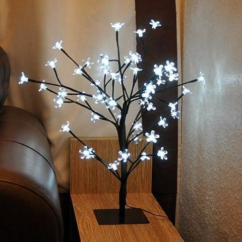 80cm Arbre de Noël blanc Blossom Light Up Bonsai Décoration