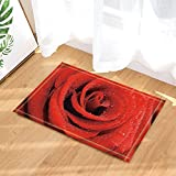 gohebe Vintage Decor Rot Rosen und Tau Bad Teppiche rutschhemmend Fußmatte Boden Eingänge Innen vorne Tür Mat Kids 39,9x 59,9cm Badezimmer Zubehör
